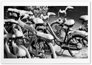 Snowy Bicycles HD Wide Wallpaper for Widescreen