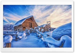 Snowy Cabin, Mountains, Winter HD Wide Wallpaper for 4K UHD Widescreen desktop & smartphone