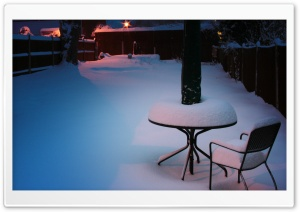 Snowy Courtyard HD Wide Wallpaper for Widescreen