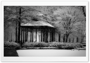 Snowy Gazebo HD Wide Wallpaper for Widescreen