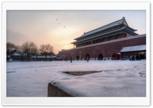 Snowy Morning at the Forbidden City HD Wide Wallpaper for Widescreen