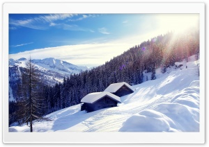 Snowy Mountain Cottage HD Wide Wallpaper for Widescreen
