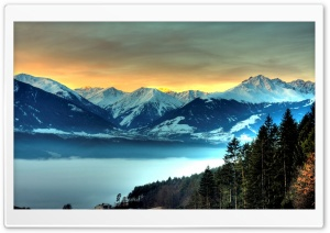 Snowy Mountains And Fog Filled Valley HD Wide Wallpaper for Widescreen