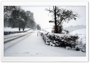 Snowy Road HD Wide Wallpaper for Widescreen