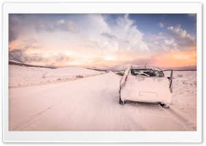 Snowy Road, Car HD Wide Wallpaper for Widescreen