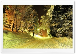 Snowy Road Night HD Wide Wallpaper for Widescreen