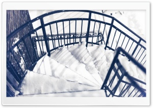 Snowy Spiral Stairs HD Wide Wallpaper for Widescreen