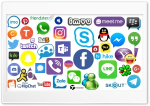 Social Media and Messengers logos HD Wide Wallpaper for 4K UHD Widescreen desktop & smartphone