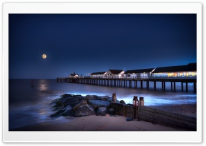 Southwold Pier Beach Suffolk, Beautiful Night Ultra HD Wallpaper for 4K UHD Widescreen desktop, tablet & smartphone