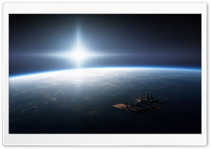 Space Station On Earth Orbit HD Wide Wallpaper for 4K UHD Widescreen desktop & smartphone