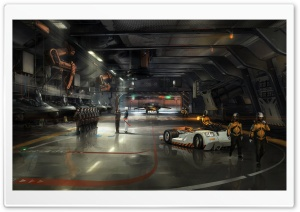 Spaceship Hangar HD Wide Wallpaper for Widescreen