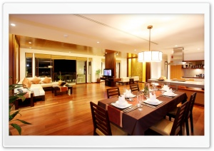 Spacious Dining Room HD Wide Wallpaper for Widescreen