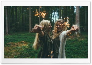 Sparklers Girls HD Wide Wallpaper for Widescreen