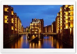 Speicherstadt in Hamburg, Germany HD Wide Wallpaper for Widescreen