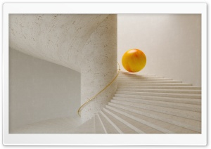 Sphere Rolling Down The Stairs Ultra HD Wallpaper for 4K UHD Widescreen desktop, tablet & smartphone