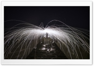 Spinning Burning Steel Wool Sparks Ultra HD Wallpaper for 4K UHD Widescreen desktop, tablet & smartphone