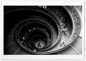 Spiral Stairs Of The Vatican Museums HD Wide Wallpaper for Widescreen