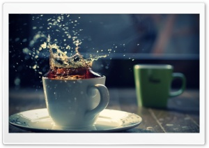 Splash In A Tea Cup HD Wide Wallpaper for Widescreen