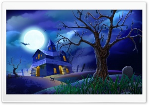 Spooky House Bats Cat Night Full Moon Hallowmas Halloween HD Wide Wallpaper for Widescreen