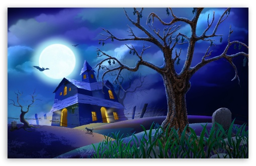 Spooky House Bats Cat Night Full Moon Hallowmas Halloween HD wallpaper for Wide 16:10 5:3 Widescreen WHXGA WQXGA WUXGA WXGA WGA ; HD 16:9 High Definition WQHD QWXGA 1080p 900p 720p QHD nHD ; Standard 4:3 5:4 3:2 Fullscreen UXGA XGA SVGA QSXGA SXGA DVGA HVGA HQVGA devices ( Apple PowerBook G4 iPhone 4 3G 3GS iPod Touch ) ; Tablet 1:1 ; iPad 1/2/Mini ; Mobile 4:3 5:3 3:2 16:9 5:4 - UXGA XGA SVGA WGA DVGA HVGA HQVGA devices ( Apple PowerBook G4 iPhone 4 3G 3GS iPod Touch ) WQHD QWXGA 1080p 900p 720p QHD nHD QSXGA SXGA ;