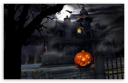 Spooky House Bats Pumpkin Full Moon Hallowmas Halloween HD wallpaper for Standard 4:3 5:4 Fullscreen UXGA XGA SVGA QSXGA SXGA ; Wide 16:10 5:3 Widescreen WHXGA WQXGA WUXGA WXGA WGA ; HD 16:9 High Definition WQHD QWXGA 1080p 900p 720p QHD nHD ; Other 3:2 DVGA HVGA HQVGA devices ( Apple PowerBook G4 iPhone 4 3G 3GS iPod Touch ) ; Mobile VGA WVGA iPhone iPad PSP Phone - VGA QVGA Smartphone ( PocketPC GPS iPod Zune BlackBerry HTC Samsung LG Nokia Eten Asus ) WVGA WQVGA Smartphone ( HTC Samsung Sony Ericsson LG Vertu MIO ) HVGA Smartphone ( Apple iPhone iPod BlackBerry HTC Samsung Nokia ) Sony PSP Zune HD Zen ;