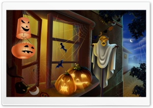 Spooky House Bats Scary Pumpkin Spider Web Hallowmas Halloween HD Wide Wallpaper for Widescreen