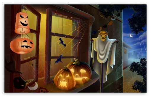 Spooky House Bats Scary Pumpkin Spider Web Hallowmas Halloween HD wallpaper for Wide 16:10 5:3 Widescreen WHXGA WQXGA WUXGA WXGA WGA ; HD 16:9 High Definition WQHD QWXGA 1080p 900p 720p QHD nHD ; Other 3:2 DVGA HVGA HQVGA devices ( Apple PowerBook G4 iPhone 4 3G 3GS iPod Touch ) ; Mobile WVGA iPhone PSP - WVGA WQVGA Smartphone ( HTC Samsung Sony Ericsson LG Vertu MIO ) HVGA Smartphone ( Apple iPhone iPod BlackBerry HTC Samsung Nokia ) Sony PSP Zune HD Zen ;
