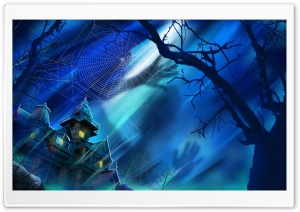 Spooky House Night Hallowmas Halloween HD Wide Wallpaper for Widescreen