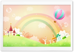 Spring Landscape With Rainbow HD Wide Wallpaper for 4K UHD Widescreen desktop & smartphone