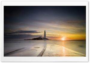St Mary s Lighthouse Low Tide Ultra HD Wallpaper for 4K UHD Widescreen desktop, tablet & smartphone
