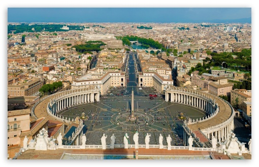 St Peter's Square Rome HD wallpaper for Wide 16:10 Widescreen WHXGA WQXGA WUXGA WXGA ; HD 16:9 High Definition WQHD QWXGA 1080p 900p 720p QHD nHD ; UHD 16:9 WQHD QWXGA 1080p 900p 720p QHD nHD ;