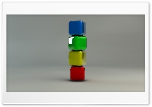 Stack of Coloured Cubes HD Wide Wallpaper for Widescreen