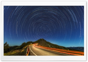 Star Trails, Mountain Road HD Wide Wallpaper for 4K UHD Widescreen desktop & smartphone