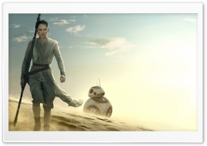 Star Wars The Force Awakens Rey BB-8 HD Wide Wallpaper for 4K UHD Widescreen desktop & smartphone