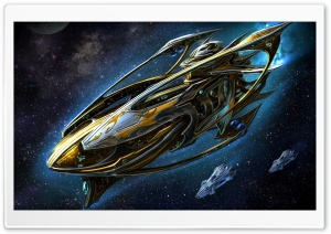 Starcraft Protoss Battleship HD Wide Wallpaper for 4K UHD Widescreen desktop & smartphone