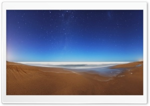 Starry Sky Beach Fisheye HD Wide Wallpaper for Widescreen