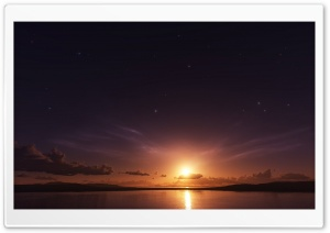 Stars And Sunset HD Wide Wallpaper for Widescreen