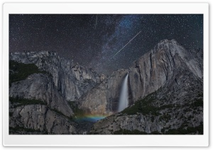 Stars, Meteor Shower, Waterfall, Rainbow, Astrophotography Ultra HD Wallpaper for 4K UHD Widescreen desktop, tablet & smartphone