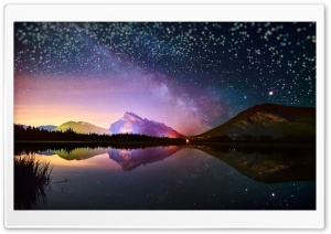 Stars Reflected In A Mountain Lake HD Wide Wallpaper for Widescreen