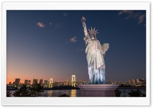 Statue of Liberty, Tokyo, Japan HD Wide Wallpaper for 4K UHD Widescreen desktop & smartphone
