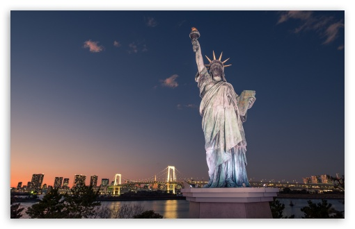 Statue Of Liberty Tokyo Japan Ultra Hd Desktop Background