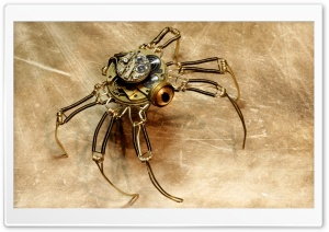 Steampunk Spider Robot HD Wide Wallpaper for 4K UHD Widescreen desktop & smartphone