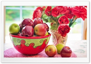 Still Life Apples fruits Bowl, Red Flowers in Vase HD Wide Wallpaper for 4K UHD Widescreen desktop & smartphone