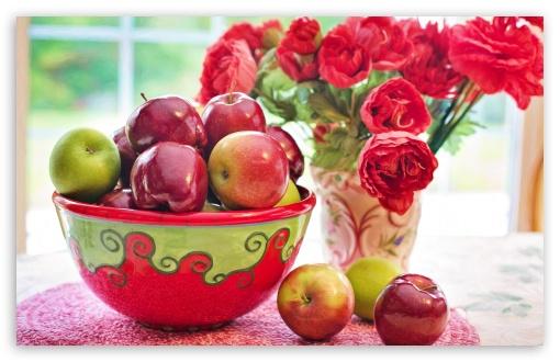 Still Life Apples fruits Bowl, Red Flowers in Vase ❤ 4K UHD Wallpaper for Wide 16:10 5:3 Widescreen WHXGA WQXGA WUXGA WXGA WGA ; 4K UHD 16:9 Ultra High Definition 2160p 1440p 1080p 900p 720p ; UHD 16:9 2160p 1440p 1080p 900p 720p ; Standard 4:3 5:4 3:2 Fullscreen UXGA XGA SVGA QSXGA SXGA DVGA HVGA HQVGA ( Apple PowerBook G4 iPhone 4 3G 3GS iPod Touch ) ; iPad 1/2/Mini ; Mobile 4:3 5:3 3:2 16:9 5:4 - UXGA XGA SVGA WGA DVGA HVGA HQVGA ( Apple PowerBook G4 iPhone 4 3G 3GS iPod Touch ) 2160p 1440p 1080p 900p 720p QSXGA SXGA ;