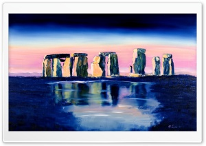 Stonehenge Oil Painting England HD Wide Wallpaper for 4K UHD Widescreen desktop & smartphone