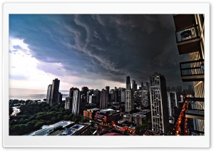 Storm Over City HD Wide Wallpaper for Widescreen