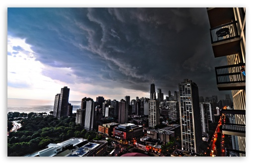 Storm Over City HD wallpaper for Wide 16:10 5:3 Widescreen WHXGA WQXGA WUXGA WXGA WGA ; HD 16:9 High Definition WQHD QWXGA 1080p 900p 720p QHD nHD ; Mobile 5:3 16:9 - WGA WQHD QWXGA 1080p 900p 720p QHD nHD ;