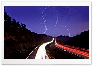 Stormy Night Road HD Wide Wallpaper for Widescreen