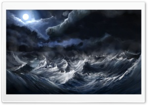Stormy Sea Painting HD Wide Wallpaper for Widescreen