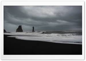 Stormy Weather, Waves, Black Sand Beach, Rocks HD Wide Wallpaper for 4K UHD Widescreen desktop & smartphone